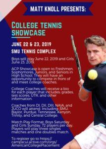 College Tennis Showcase @ SMU Tennis Complex