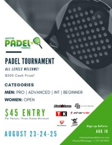 DEADLINE Austin Padel Tournament @ Austin Padel Tennis